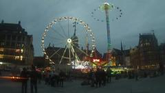 Funfair on the Dam, Amsterdam timelapse Stock Footage