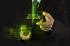businessman hand showing  design graphic word business success with diagram a - stock illustration