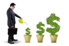 businessperson nurture the money trees - stock illustration