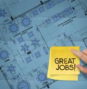 great job word with sticky note on construction site with layout plan crumple - stock illustration