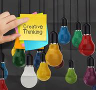 Sticky note with creative thinking word  light bulb on crumpled paper as crea Stock Illustration