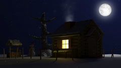 Classic Wooden House with Lights in a Beautiful Wintry Landscape at Night Stock Footage