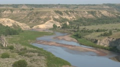 P03921 Little Missouri River at Theodore Roosevelt in North Dakota Badlands Stock Footage