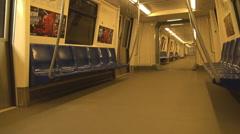 Empty subway train move underground to station, nobody use public transportation Stock Footage