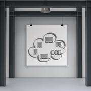 cloud network diagram on poster with composition wall - stock illustration