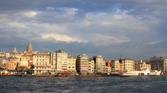 Istanbul harbor, Karakoy Port. Galata Tower in the distance Stock Footage