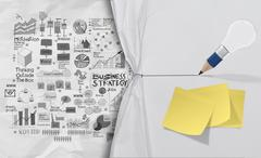 pencil lightbulb draw rope open wrinkled paper show business strategy as conc - stock illustration