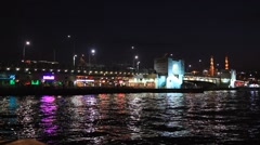 Stock Video Footage of Galata Bridge and color reflections
