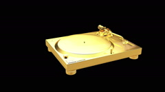 Gold stereo turntable Stock Footage