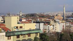 Winter at Sultanahmet with Hagia Sophia and residential buildings Stock Footage