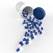 Pills 3d spilling out of pill bottle on white Stock Illustration