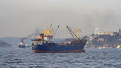 Traffic jam at Bosphorus Sea Stock Footage