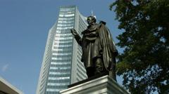 Albrecht Daniel Thaer statue in Leipzig Stock Footage