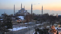 Blue Mosque, Sultanahmet Square at winter sunset Stock Footage