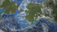 Alaska. 3d earth in space - zoom in on Alaska contoured on green 4k Arkistovideo