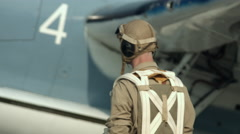 US Navy Grumman Avenger and pilot 4K Stock Footage