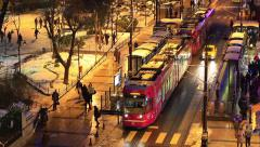 Divan Yolu main avenue through historical Istanbul, starting at Sultanahmet Stock Footage