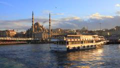 Eventide at Golden Horn. Eminonu Harbor in Istanbul, Turkey Stock Footage