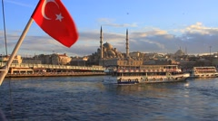 Turkish Flag waving at Golden Horn. Travel Turkey Stock Footage