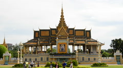 Zoom Out of the Kings Palace with Visiting Tourists  - Phnom Penh Stock Footage