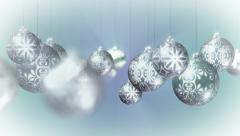 Christmas Background Loop: Moving through baubles. Silver glittering balls Stock Footage