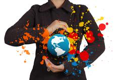 businesswoman shows the earth and splash colors - stock illustration
