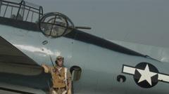 World War II Grumman Avenger and pilot 4K Stock Footage