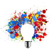 Invisible light bulb and splash colors Stock Illustration