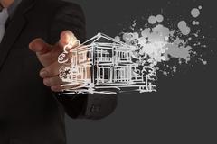 businessman hand draw house and splashing  color - stock illustration