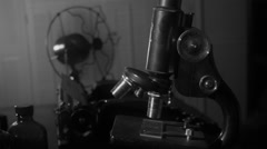 Dolly vintage science lab Stock Footage
