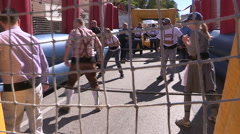 Human foosball game in Waterloo Ontario Stock Footage