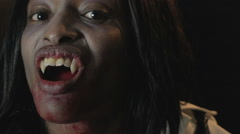Bloody Vampire Girl Closeup Ecstasy Sexy Lots of Blood - stock footage