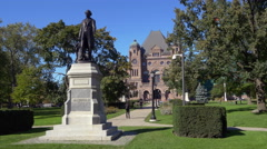 Statue of Sir John A. Macdonald - Queen's Park - Toronto Canada Stock Footage