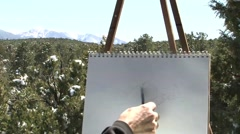 One Minute Landscape Painting Lesson Stock Footage