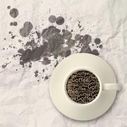 coffee spilling out of a cup 3d as vintage style - stock illustration