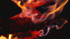 Coals fire shakey close Stock Footage