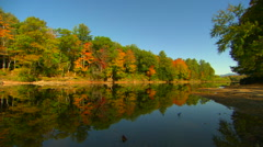 Fall colors reflected in pemigewasset river in new hampshire Stock Footage