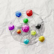 colors crumpled paper as social network structure on wrinkled paper - stock illustration
