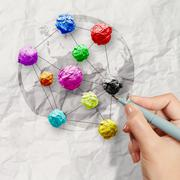 hand draws colors crumpled paper as social network structure on wrinkled pape - stock illustration