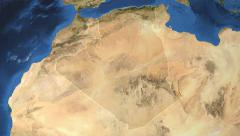 Algeria. 3d earth in space - zoom in on Algeria contoured on green 4k Stock Footage