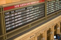 new york city - may 24, 2013: timetable of grand central station in manhattan - stock photo