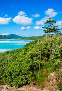 Stunning colors of whitsundays archipelago, australia. mountains over whiteha Stock Photos