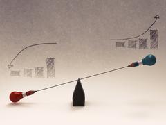False balance of pencil lightbulb as concept Stock Illustration
