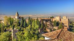 Alhambra castle towers cityscape churchs granada andalusia spain Stock Photos