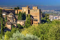 alhambra castle towers granada andalusia spain - stock photo