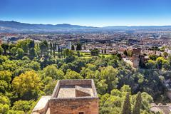 alhambra castle tower cityscape churchs granada andalusia spain - stock photo