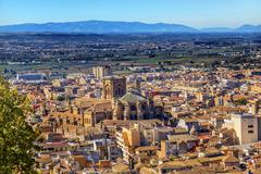 alhambra cityscape cathedral  granada andalusia spain - stock photo