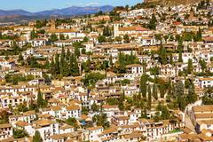 alhambra white buildings cityscape churches albaicin carrera del darrogranada - stock photo