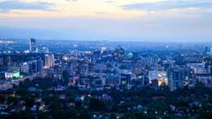 In the city the night. Almaty, Kazakhstan Stock Footage