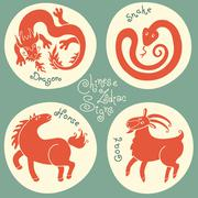 Set signs of the Chinese zodiac. Stock Illustration